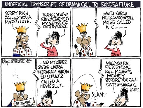 editorial cartoon about Sandra Fluke, Rush Limbaugh, and Bill Maher