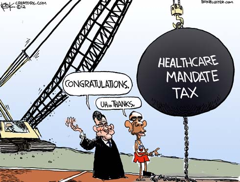 Obama political cartoon by Chip Bok features Chief Justice Roberts giving congratulations to President Barack Obama