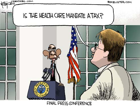 Political cartoon by Chip Bok shows Barack Obama taking questions on the Healthcare Mandate Tax
