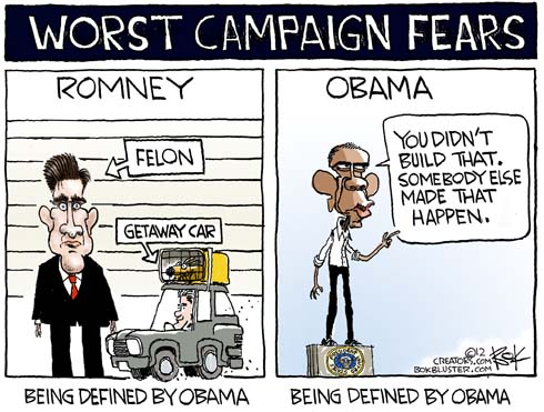 Funny campaign political cartoon by Chip Bok featuring Romney being defined by President Obama