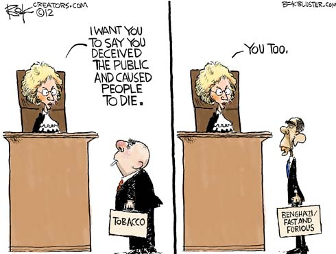 Judge Kessler: Mr. Tobacco, I want you to say you deceived the public and caused people to die... you too, Obama