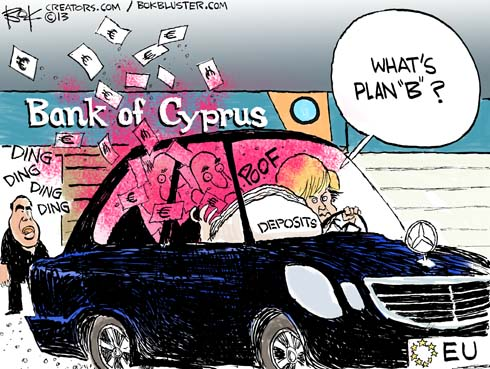 "a car full of money drives away from Bank of Cyprus and driver asks ""what's plan B?"""
