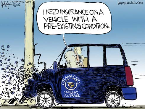 "The Obamacare Cadillac hits a wall and driver says ""I need insurance on a vehicle with a pre-existing condition."""