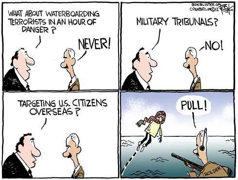Political cartoon depicting civilian trials for foreign terrorists