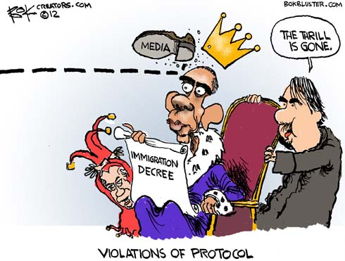 Obama cartoon by Chip Bok shows Obama heckling Congress over rejection of Dream Act