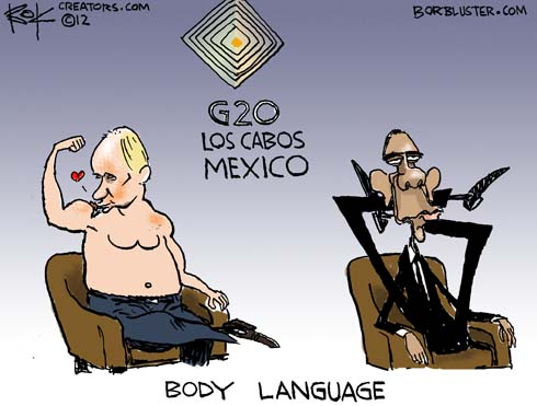 Funny Barack Obama cartoon by political cartoonist Chip Bok illustrates Putin's muscles and Barack Obama flexibility
