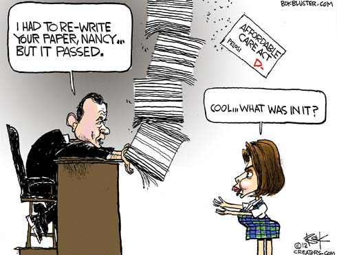 Funny political cartoon by Chip Bok on healthcare rewrite showing Justic Roberts sharing his rewrite of healthcare plan