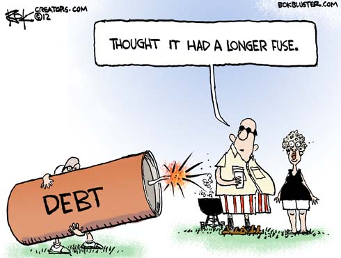 Funny Independence Day editorial cartoon by Chip Bok illustrates debt as a firecracker that is being blown off