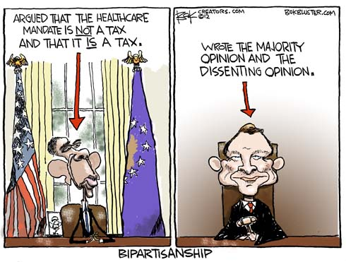 funny political cartoon by Chip Bok depicts the Barack Obama and Chief Justice Roberts tax shakedown