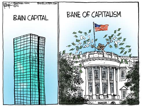 Chip Bok political cartoon about Barack Obama accusing Romney Bain Capital of outsourcing jobs