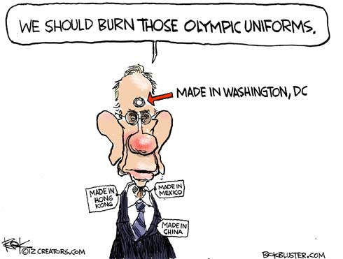 Editorial cartoon by Chip Bok illustrates Harry Reid saying we should burn those Olympic Uniforms