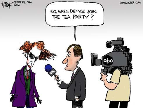 Funny editorial cartoon about Colorado theater shooting by Chip Bok shows ABC News reporter Brian Ross asking the Joker when he joined the Tea Party