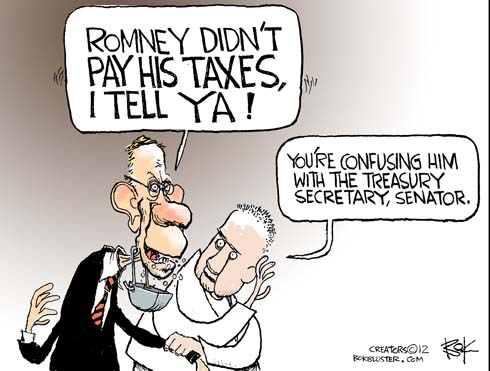 Funny political cartoon by Chip Bok. Harry Reid accuses Romney of not paying his taxes for ten years