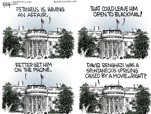 Political cartoon by Chip Bok features the White House displayed 4 times with funny Petraeus captions above each White House
