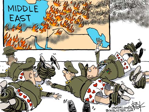 Funny cartoon by Chip Bok shows U.S. soldiers with their pants down in the Middle East