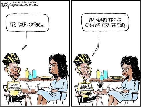 "Lance Armstrong says 'it's true, Oprah, I'm Manti Te'o's online girlfriend."""