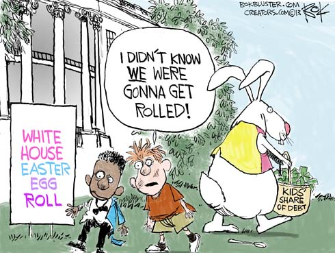 "At The White House Easter Egg Roll, a boy tells another boy ""I didn't know we were gonna get rolled (with debt)."""